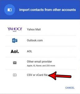 how to import contacts with a csv file in gmail