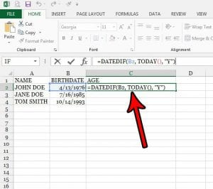 how to calculate age in excel 2013