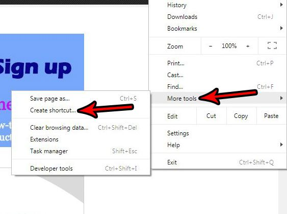create web page shortcut in google chrome