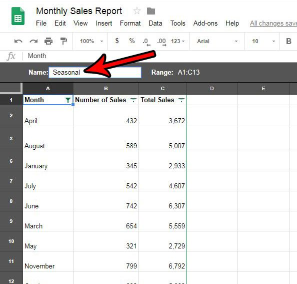how to name a saved filter in google sheets