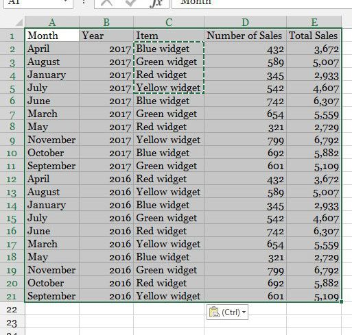 select the data for the table in excel 2013