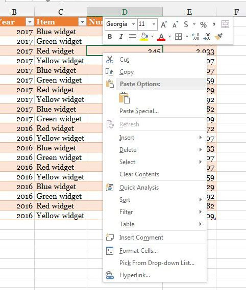 right-click shortcut menu on excel 2013 table