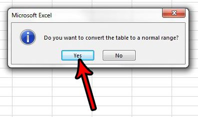 convert excel table back to range