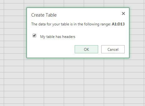 create a table in excel online