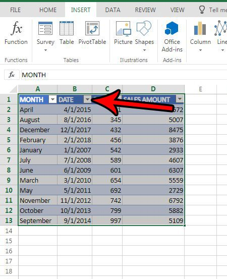 table date sorting excel online
