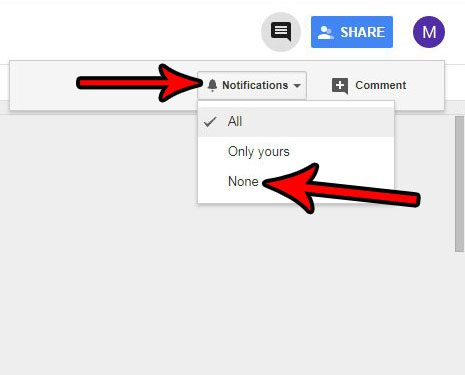 how to turn off google drive document comment notifications