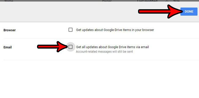 turn off all google drive notifications