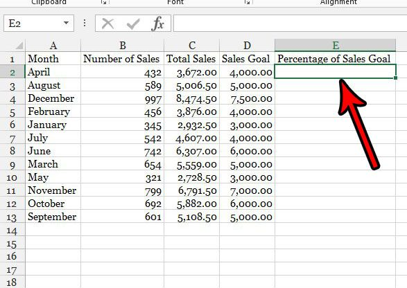 select the cell for the percentage formula