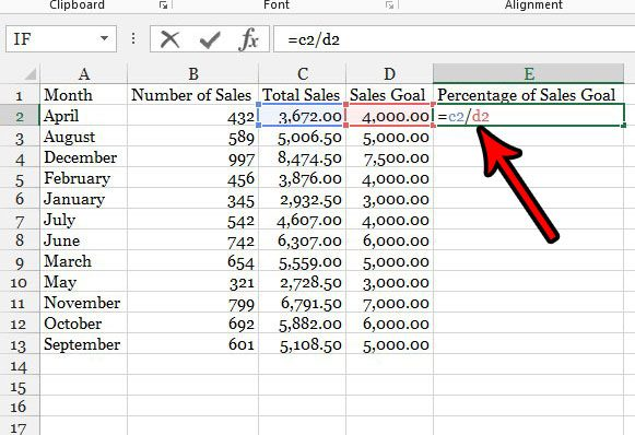 percentage formula in excel 2013