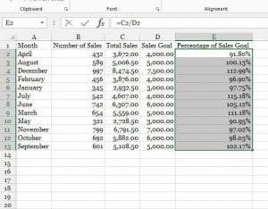how to calculate percentage in excel 2013