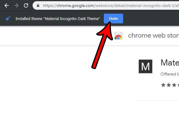 undo a theme switch in google chrome