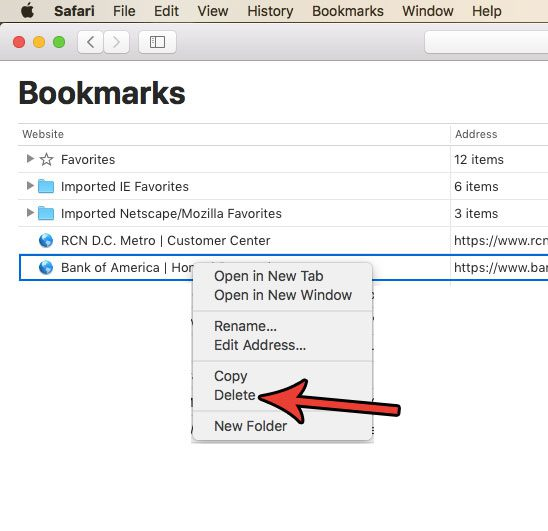 delete a bookmark in safari on a mac