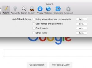 how to disable autofill in safari on a mac