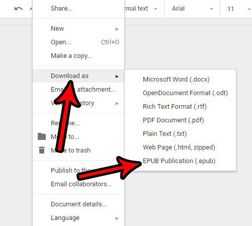 how to save in epub file format from google docs