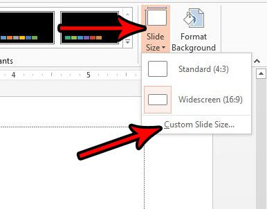 powerpoint custom side size menu