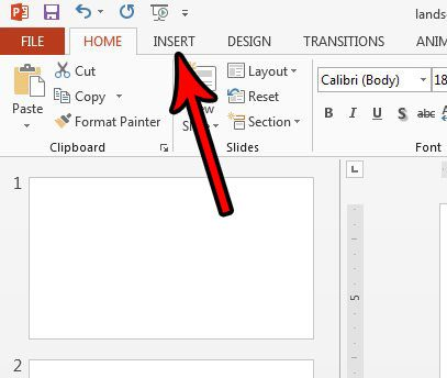 open the powerpoint insert menu