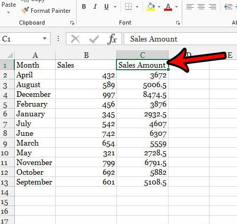 how to make column names in excel