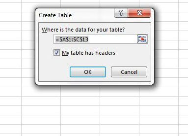 create table with column names in excel