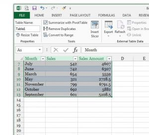 How to Name Columns in Excel 2013