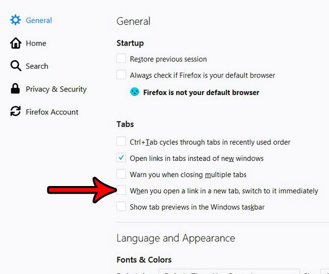 how to stop automatically switching to new tabs in firefox