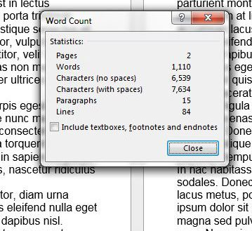 microsoft word character count example