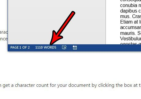 microsoft word character count alternate method