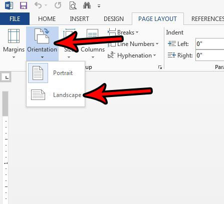 how to switch to landscape in word 2013