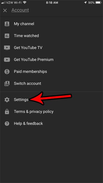 youtube iphone settings