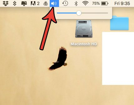 volume button in status bar at top of mac screen