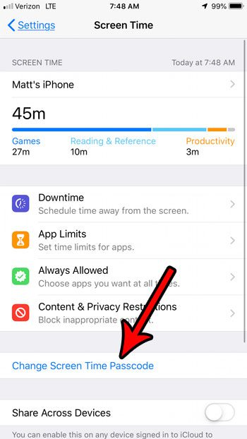 how to change passcode for screen time on iphone