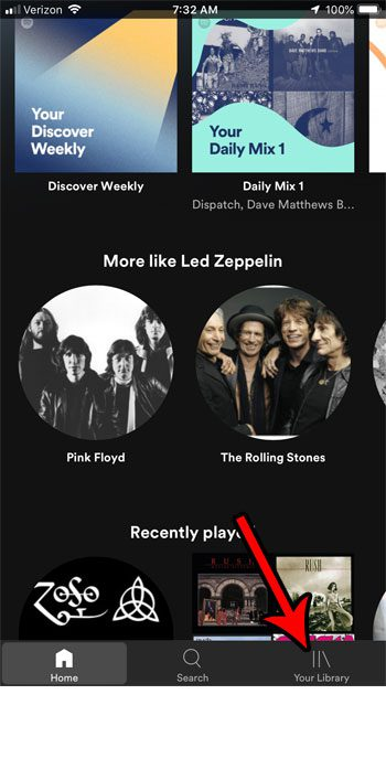 spotify your library menu