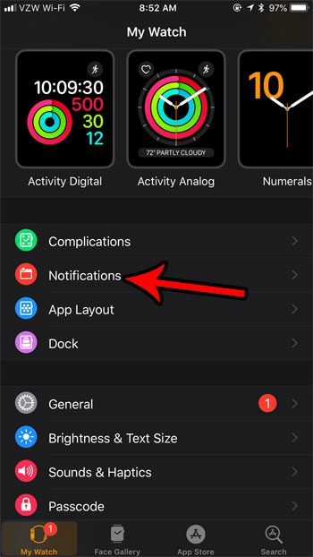 change apple watch notification settings