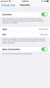 how to enable downtime on iphone 7