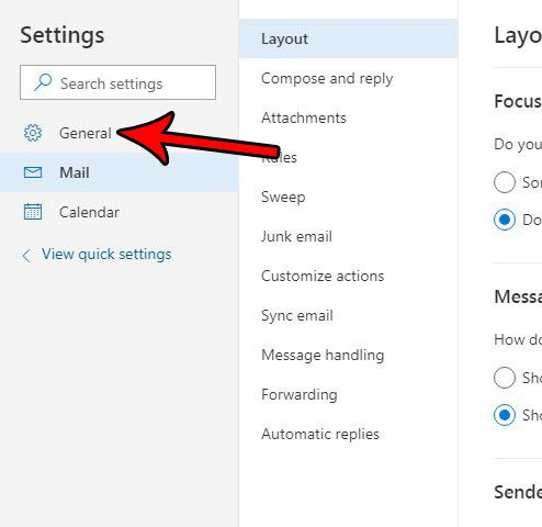 outlook.com general settings