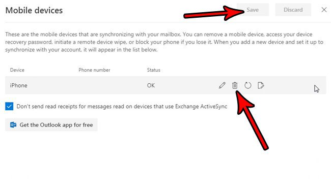 how to stop mobile device sync outlook.com