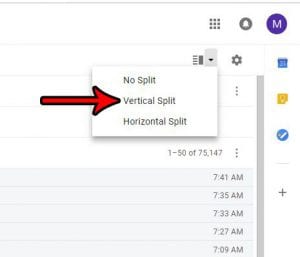 how to use the vertical split view in Gmail