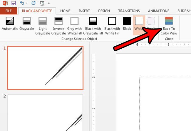 how to return to color view in powerpoint 2013