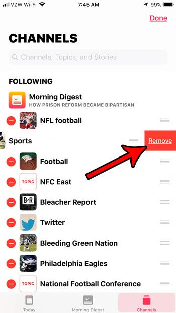 how to delete channel from apple news