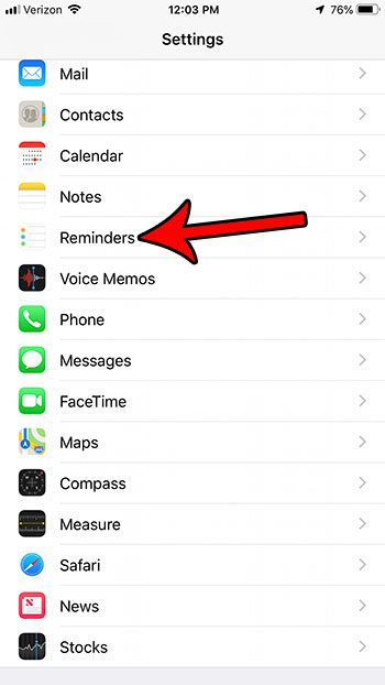 open the reminders menu