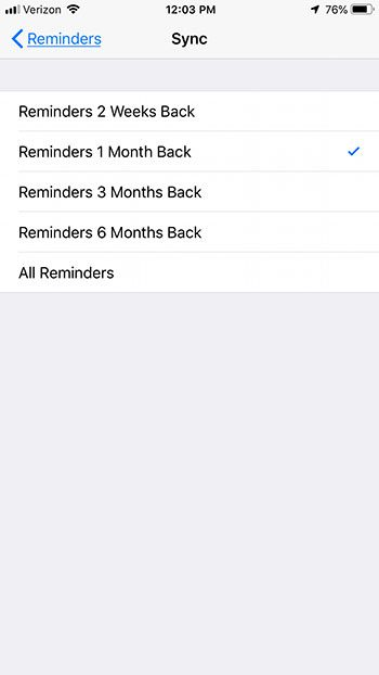 how to change iphone reminder sync duration