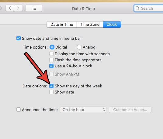 how to include day of the week in mac status bar