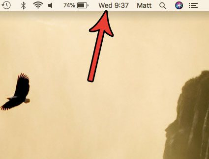 day of week in mac status bar