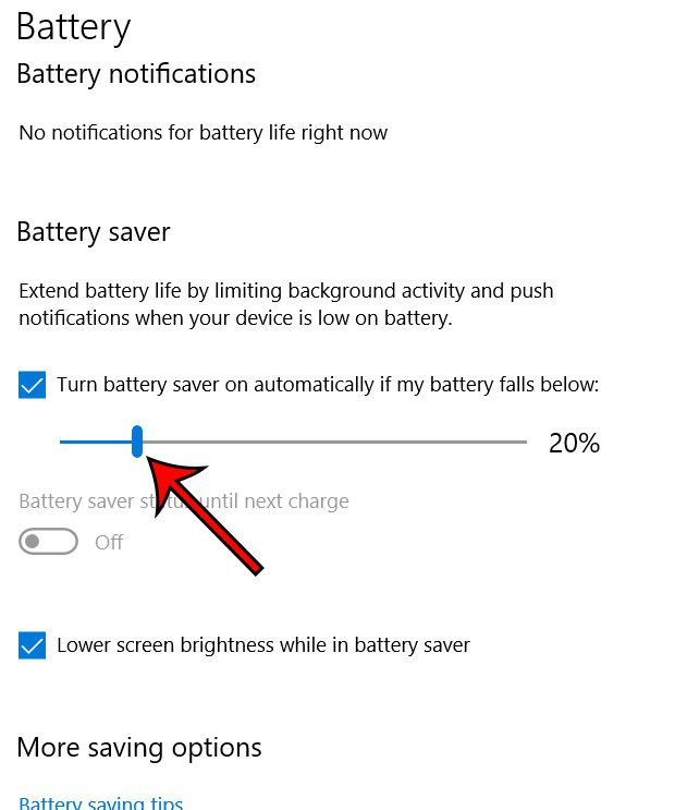 windows 100 battery saver threshold