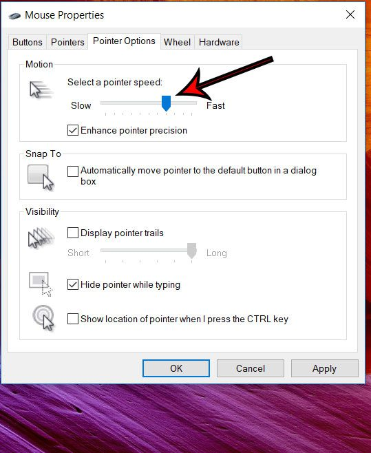how to change mouse pointer speed in windows 10