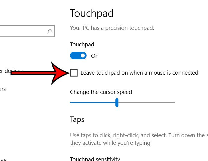 windows 10 disable touchpad when mouse connected