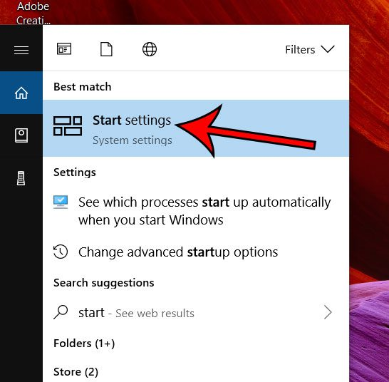 windows 10 start settings