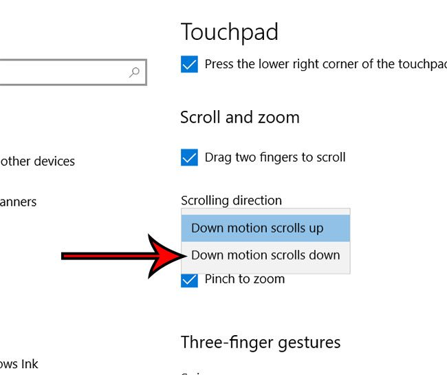 how to hange touchpad scrolling direction in windows 10