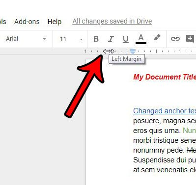clicking and dragging to change margins in google docs