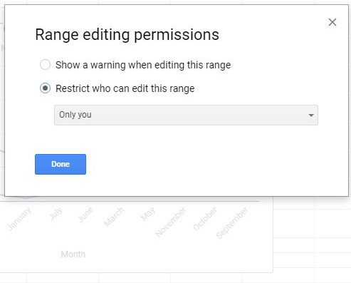 choose permissions for selected range in google sheets