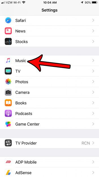 open the music settings on your iphone